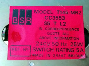 Cartridge player BSR T145/MR2
