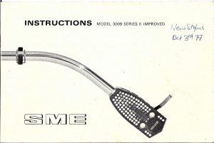 SME 3009 Instructions