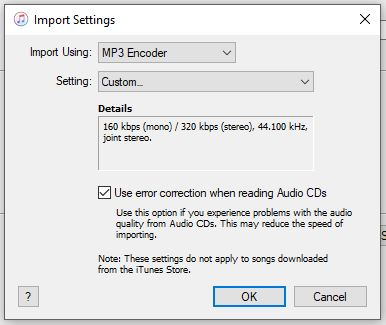 iTunes CD import settings
